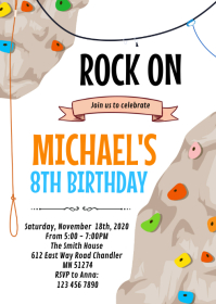 Rock climbing party card invitation