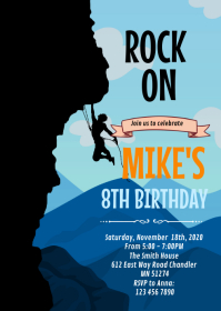 Rock climbing party card invitation A6 template