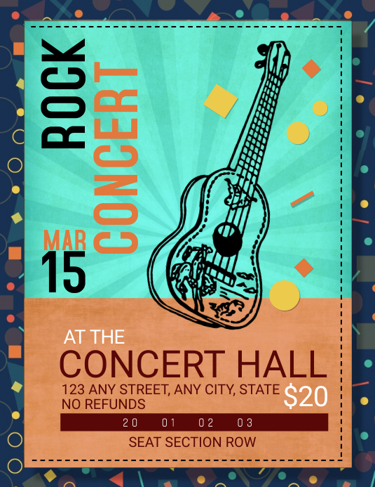 Rock Concert Ticket Template Pamflet (Letter AS)