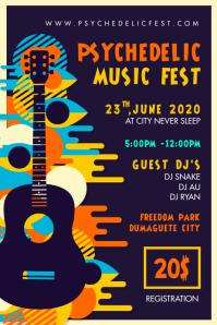 Rock Concert Trippy Music Festival Poster template