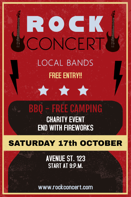 Rock concert Vintage poster template Plakkaat
