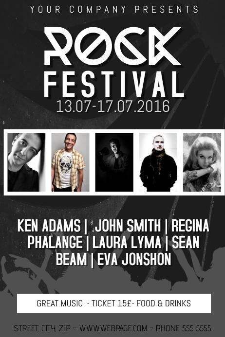rock festival concert event band flyer template five photos