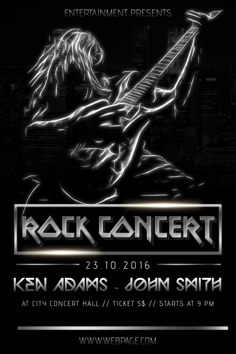 Rock heacy metal black concert band singer flyer template