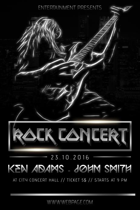 Rock heacy metal black concert band singer flyer template