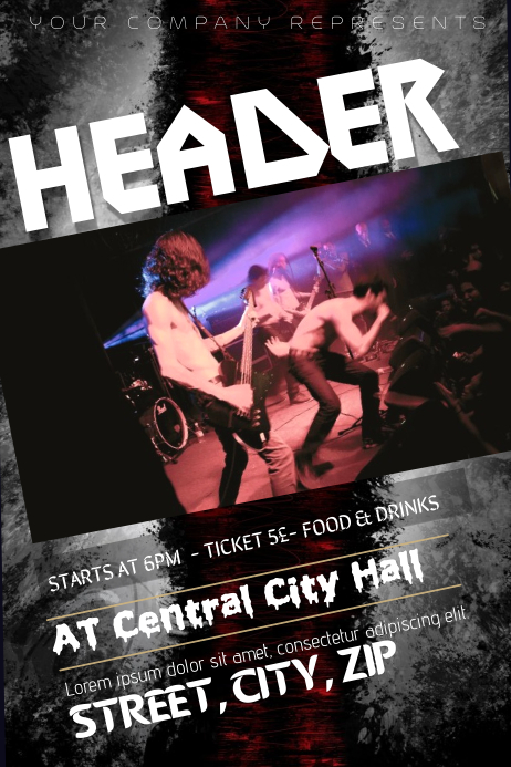 Rock Heavy Metal Concert Band Flyer Template Postermywall
