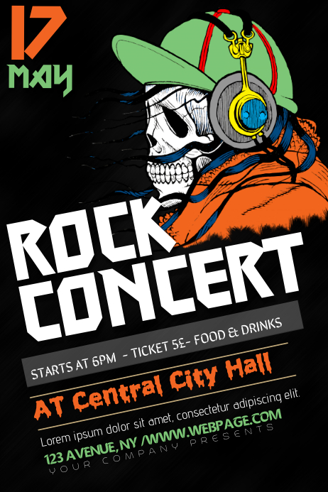 Rock Heavy Metal Punk Concert band Poster Flyer Template | PosterMyWall