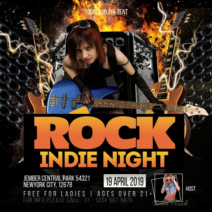 Rock Indie โพสต์บน Instagram template