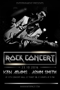 Rock metal black concert band flyer template with photo