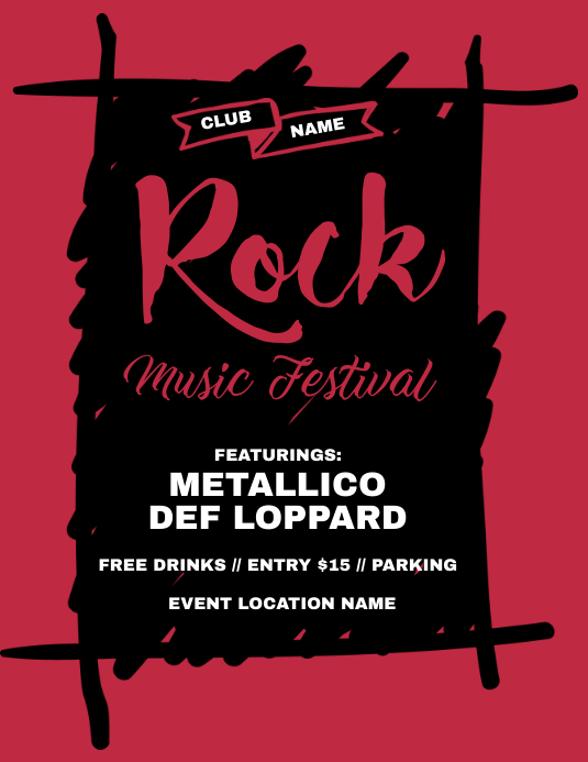 rock music festival flyer template postermywall