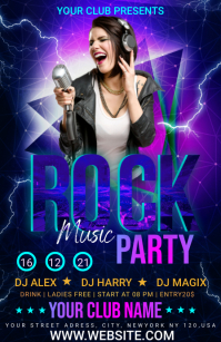 Rock music party Half Page Wide template