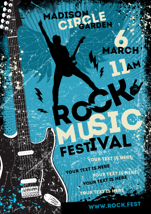 ROCK MUSIC POSTER A4 template