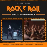 Rock n Roll band concert multiple video adver Wpis na Instagrama template
