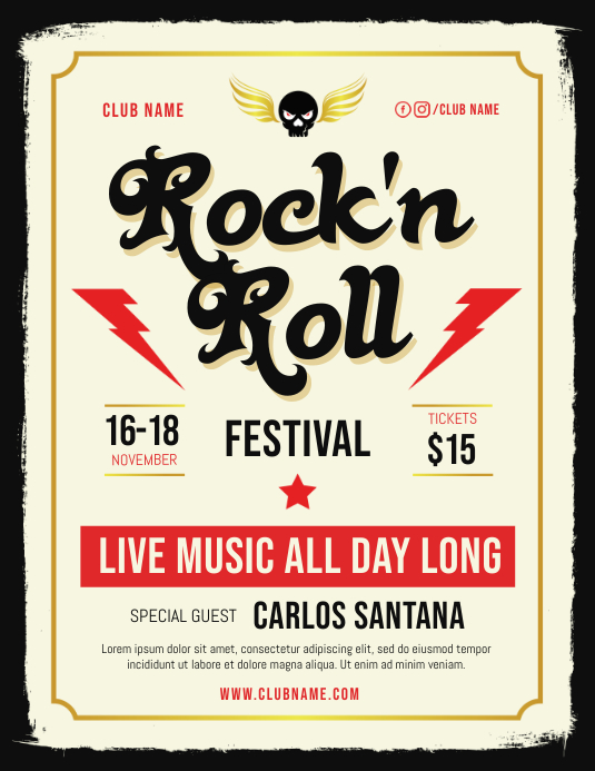 Rock n Roll Live Music Flyer Template Folheto (US Letter)