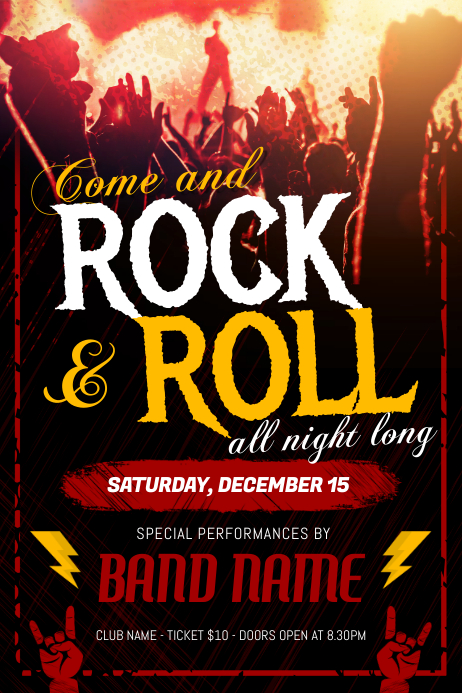 Rock n Roll Music Concert Poster Template