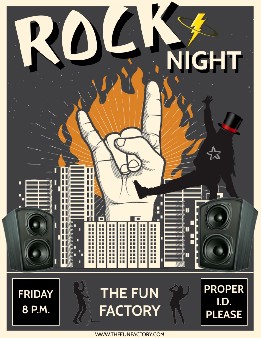 ROCK NIGHT Løbeseddel (US Letter) template
