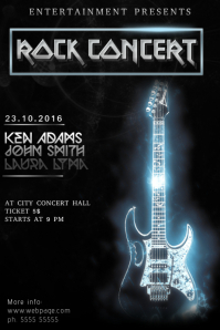 Rock or electrical guitar concert flyer poster template