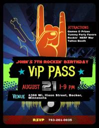 Rock star Birthday Party Invite
