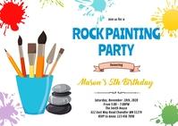 Rock stone painting birthday invitation A6 template