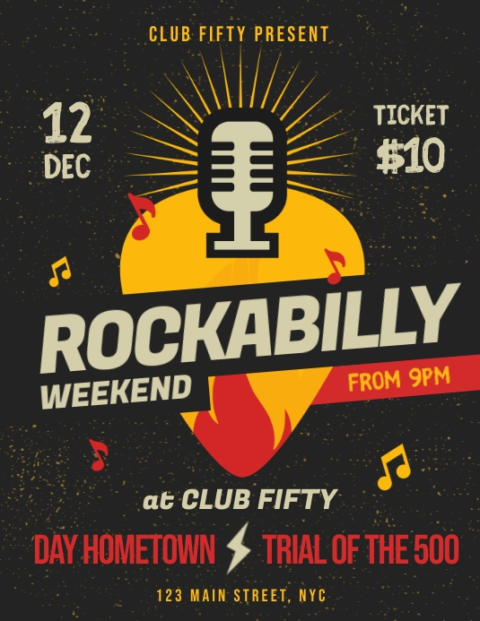Rockabilly Music Event Flyer Template Løbeseddel (US Letter)