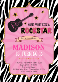 Rockstar birthday invitation A6 template