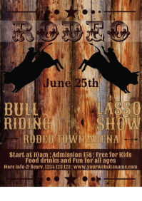 Rodeo bull riding horse event show Flyer temp