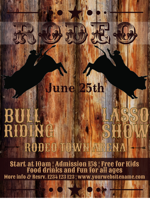 Rodeo bull riding horse event show Flyer temp A4 template