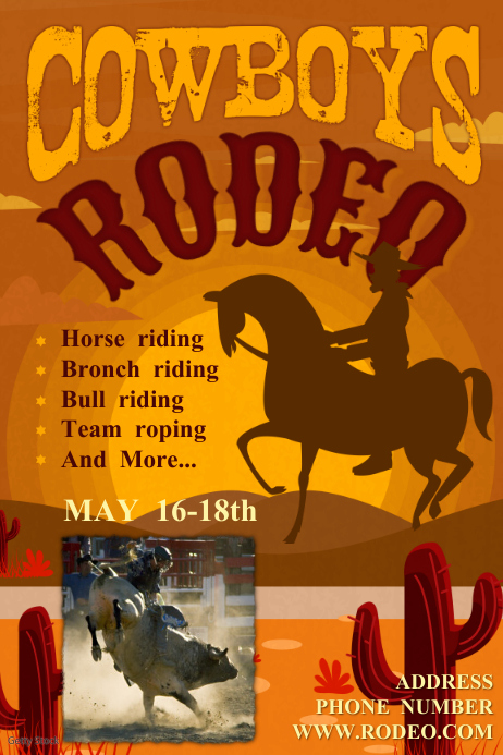 Rodeo flyer Cartaz template