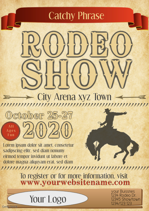 Rodeo Flyer show template event celebration A4