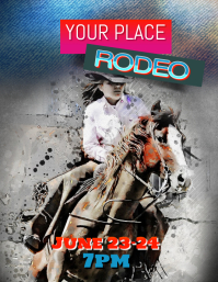 rodeo horse riding cowboy flyer template
