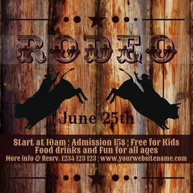 Rodeo instagram post bull riding horse event template