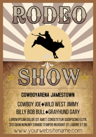 Rodeo instagram post bull riding horse event A4 template