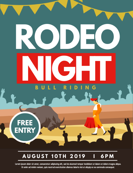 Rodeo night Folheto (US Letter) template