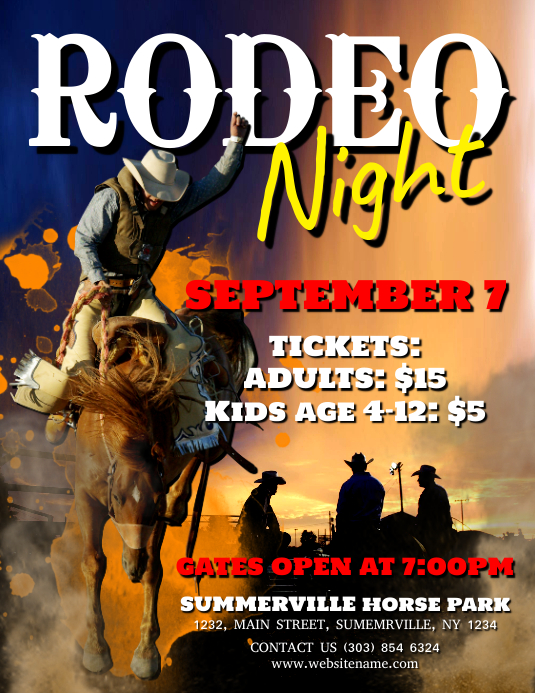 Rodeo Night Flyer Folheto (US Letter) template