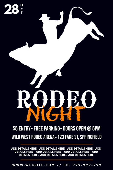 Rodeo Night Poster Affiche template