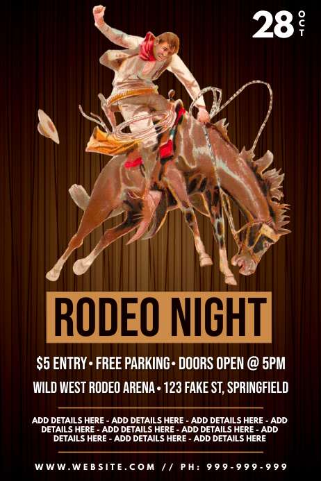 Rodeo Night Poster Plakat template