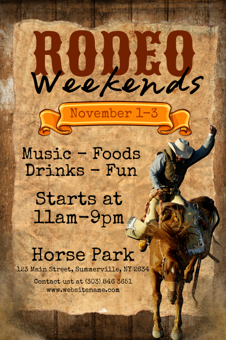 Rodeo Weekends Poster template