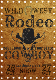 Rodeo wild west show template A4