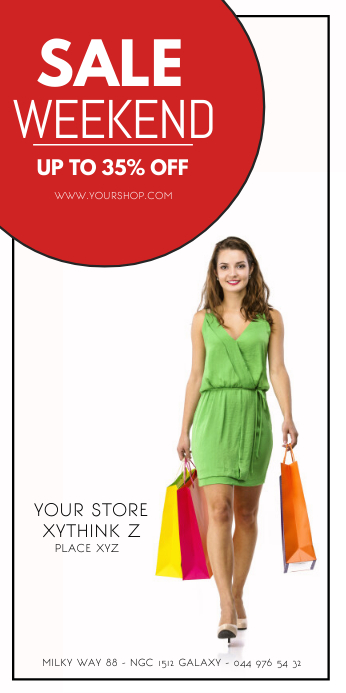 Roll Up Banner Fashion Sale Shopping Advert 易拉宝 3' × 6' template