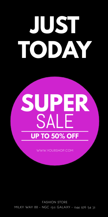 Roll Up Banner Super Sale Shopping Retail ad