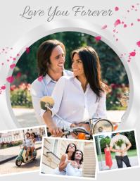Romantic Couple Collage template Løbeseddel (US Letter)