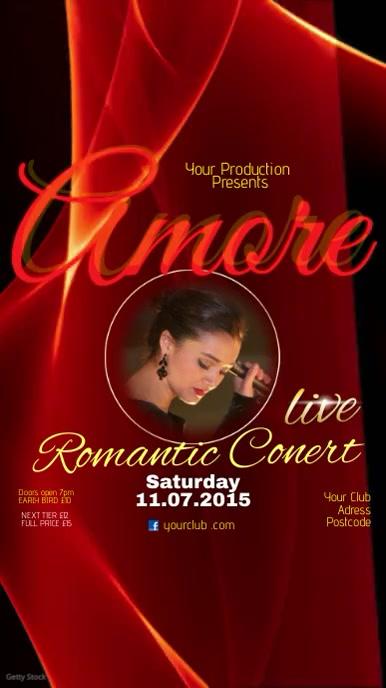 Romantic Live Concert video template Digital na Display (9:16)
