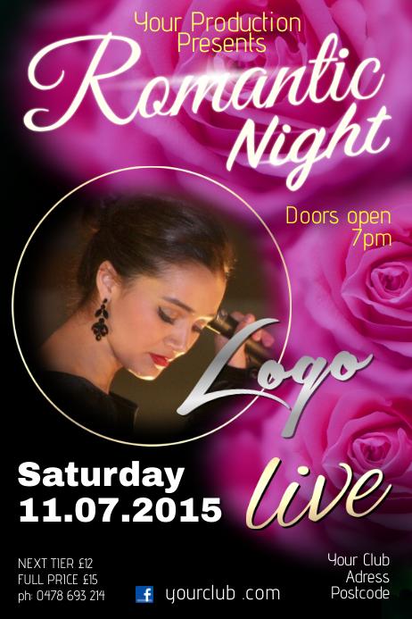 Romantic Music night Poster Template