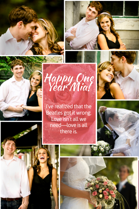 Romantic Photo Collage Template Poster