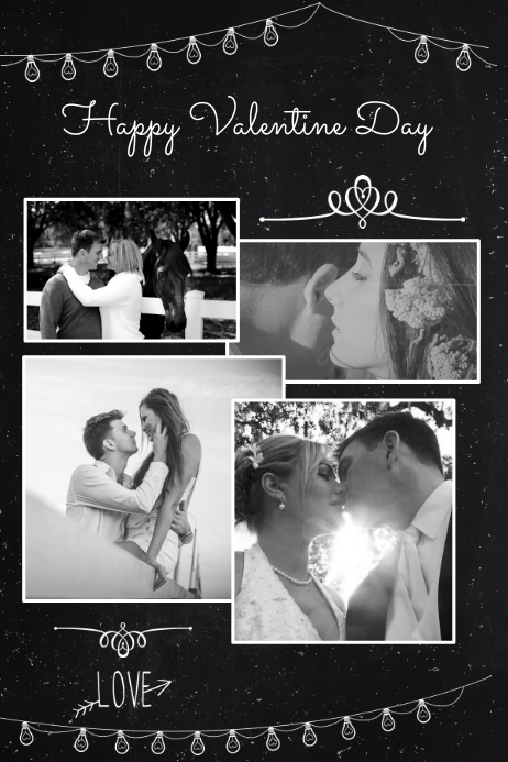 Romantic Photo Collage Template Plakkaat