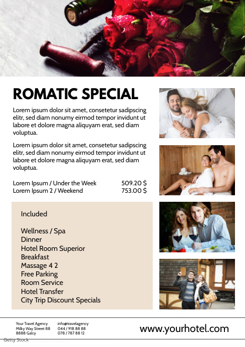 Romantic Special Flyer Hotel Room Wellness We A4 template