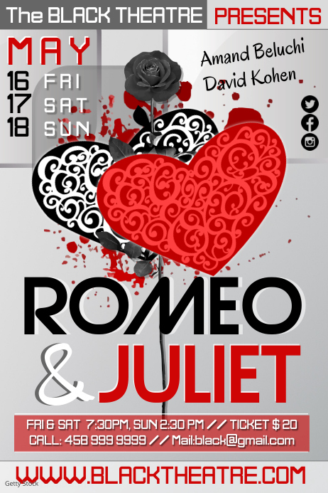 Romeo & Juliet Theatre Play Poster