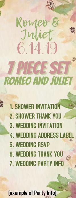 ROMEOANDJULIET 1/2 Letter Wedding Party info