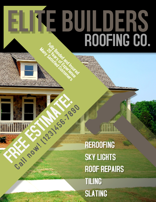 Roofing Construction Advertisement Flyer Folheto (US Letter) template