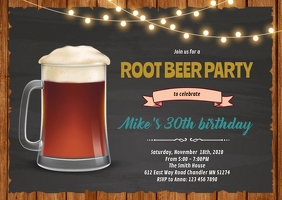 Root beer birthday party invitation