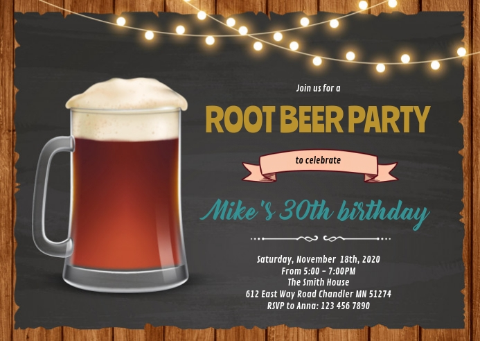 Root beer birthday party invitation A6 template